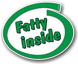Funny Green Fatty Inside Slogan With Retro Style Novelty Design Vinyl Car Sticker Decal 105x85mm